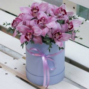 9 крупных розовых орхидей в коробке R797