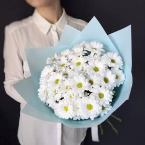 Букет 5 веток белой хризантемы с голубым оформлением R1220